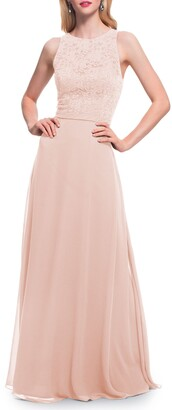 #Levkoff Lace Bodice Chiffon A-Line Gown