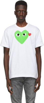 Comme des Garcons White and Green Big Heart T-Shirt