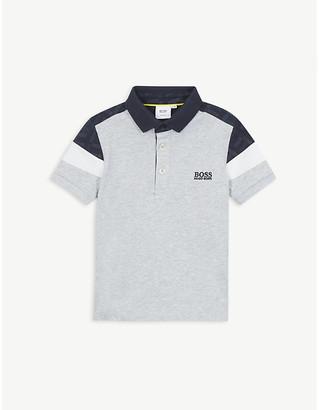 BOSS Logo colour-block cotton polo shirt 4-16 years