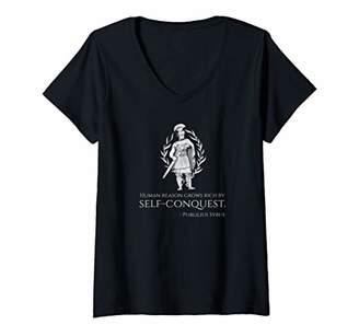 Womens Ancient Roman Stoic Philosophy Quote Motivational Stoicism V-Neck T-Shirt