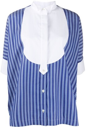 Sacai Striped-Print Pleated Shirt