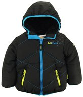 Big Chill Little Boys' Quilted Stitching Puffer Jacket with Sherpa Hood
