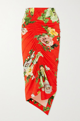 Preen by Thornton Bregazzi Xenie Ruched Floral-print Stretch-crepe Midi Skirt - Red