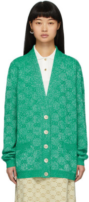 Gucci Green Lurex Interlocking G Cardigan