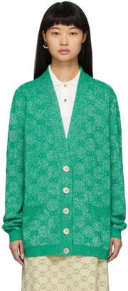 Gucci Green Lurex Interlocking G Cardigan