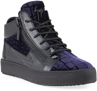 Giuseppe Zanotti Men's Meredith Croc-Print Velvet Mid-Top Sneakers