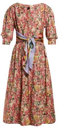 Marni Scarf Belt Floral Print Crepe Dress - Womens - Pink Multi
