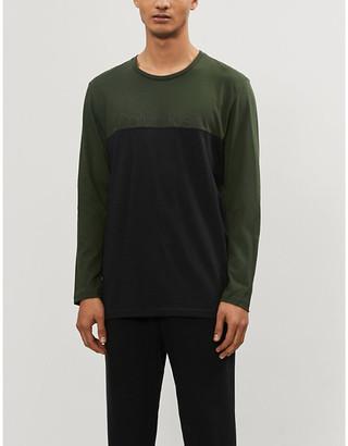Calvin Klein Colour block cotton-jersey pyjama top