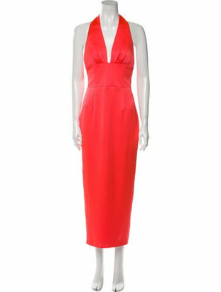 Rasario Plunge Neckline Long Dress w/ Tags Orange