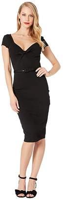 Unique Vintage 1950s Sweetheart Stretch Knit Dianne Wiggle Dress (Black) Women's Dress