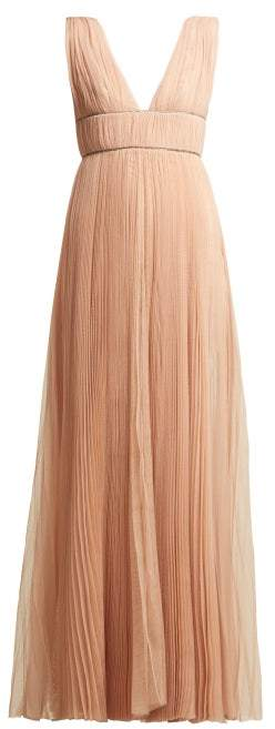 Maria Lucia Hohan Kylie Crystal Embellished Pleated Tulle Dress - Womens - Nude