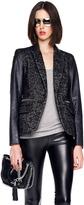 MICHAEL Michael Kors Faux-Leather-Sleeve Shimmery Tweed Blazer