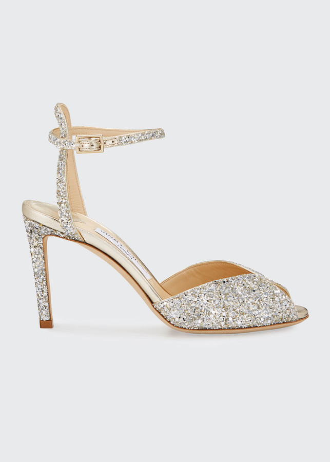 Thumbnail for your product : Jimmy Choo Sacora Shimmery Glitter Cocktail Sandals