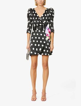 Olivia Rubin Ren polka dot silk-satin mini dress
