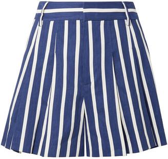 Alice + Olivia Striped Linen-blend Shorts