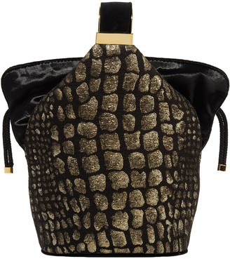 BIENEN-DAVIS Bienen Davis Kit Mini Velvet-trimmed Metallic Croc-effect Brocade Bucket Bag