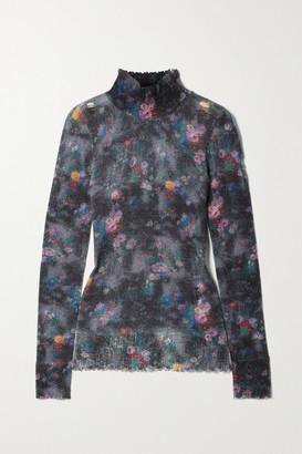 R 13 Distressed Floral-print Cashmere Turtleneck Sweater - Black
