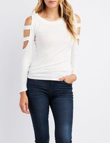 Charlotte Russe Ribbed Cut-Out Sleeve Top