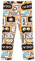 Fendi Orange Text Print Leggings