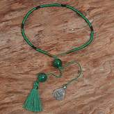 Bali Green Quartz Beaded Bracelet with a Silver Heart Charm, 'Nature's Love'