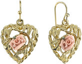 JCPenney 1928 Jewelry Pink Rose Gold-Tone Heart Earrings