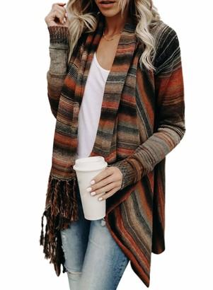 CORAFRITZ Womens Casual Stripe Cardigan Fringe Drape Sweater Irregular Cardigan Hem Tassel Loose Tops Brown