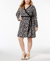 Tommy Hilfiger Plus Size Printed Wrap Dress, Created for Macy's