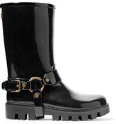 Dolce & Gabbana Buckled Glossed-Rubber Rain Boots