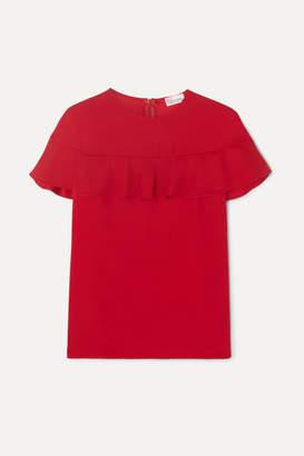 RED Valentino Camicia Cape-effect Ruffled Crepe Top