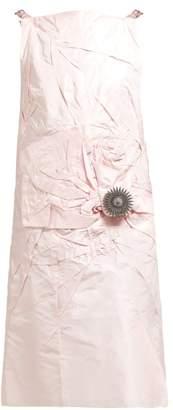 Calvin Klein Brooch-embellished Silk-taffeta Dress - Womens - Pink