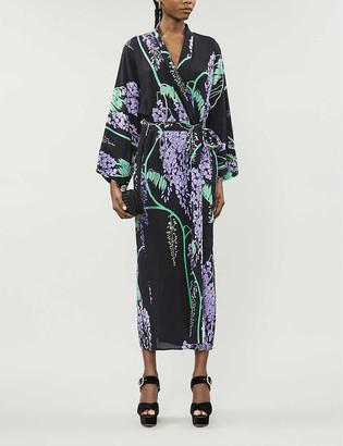 BERNADETTE Peignoir long-sleeved silk-chiffon maxi dress