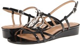 Armani Jeans Strappy Logo Sandals (Black Patent) - Footwear