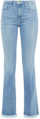 Frame Frayed Mid-rise Bootcut Jeans