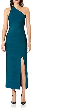 Herve Leger Icon One-Shoulder Bandage Gown