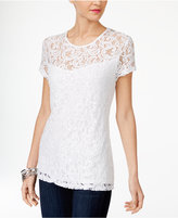 INC International Concepts Sequin Lace T-Shirt, Created for Macy's