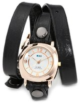 "La Mer Women's LMODY004 ""Odyssey"" 14k Gold-plated Watch with Black Leather Wrap-Around Band"