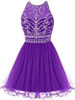 Bbonlinedress Women's Short Tulle Sleeveless A Line Beaded Prom Party Homecoming Dresses