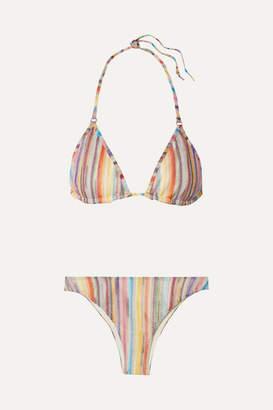 Missoni Mare Metallic Crochet-knit Triangle Bikini - Lilac