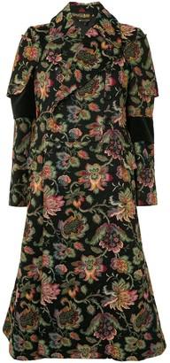 Comme Des Garçons Pre Owned Floral Jacquard Coat
