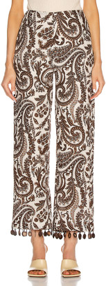 Rosie Assoulin Straight Pant in Brown & Natural | FWRD