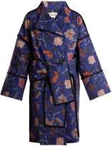 Diane von Furstenberg Canton Floral-print tie-waist cotton-blend coat