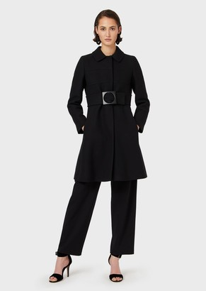Emporio Armani Virgin-Wool Coat With Oversized Belt