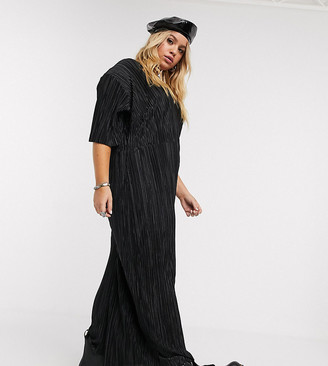 Another Reason Plus wide leg plisse jumpsuit with deep plunge