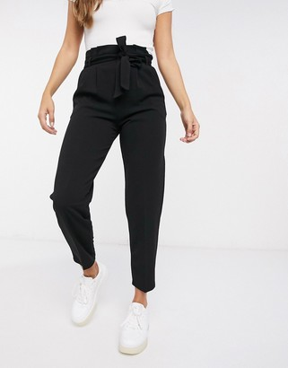 Miss Selfridge scuba paperbag trousers in black