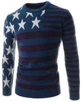 jeansian Men's Crew Neck Star Stripe Long Sleeves Knitted Sweater Tops 88A7 L
