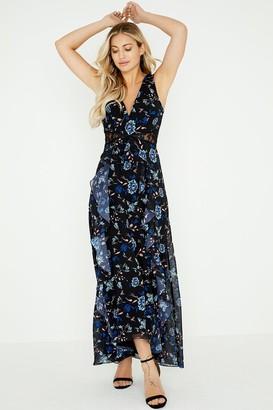 Little Mistress Minnie Floral Lace Insert Maxi Dress