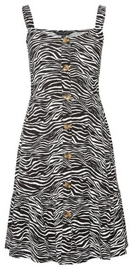 Dorothy Perkins Womens Black Animal Printed Strappy Jersey Dress, Black
