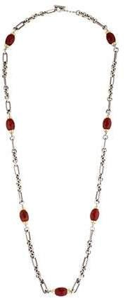 David Yurman Two-Tone Carnelian Figaro Link Necklace