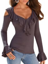 Kalin L Women Long Sleeve Fitted Cold Shoulder Ruffle Blouse Tunic Top (M, )