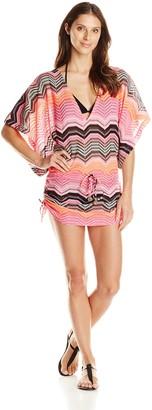 Luli Fama Women's Pink Champagne Crochet Cabana V-Neck Dress Cover Up